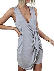 cheap -Women's Asymmetric Hem Solid Color Dress Cotton Sleeveless Sweater Cardigans Deep V Fall Summer Gray