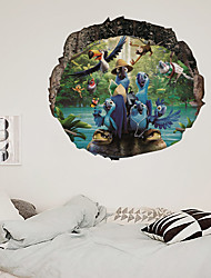 cheap -3D Broken Wall Series Of Several Parrot Decorative Painting Living Room Bedroom Children's Room Can Remove Stickers