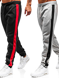 cheap -Men's Sweatpants Joggers Street Bottoms Drawstring Winter Fitness Gym Workout Running Jogging Exercise Moisture Wicking Breathable Soft Normal Sport Stripes Dark Grey Black Light Gray / Stretchy