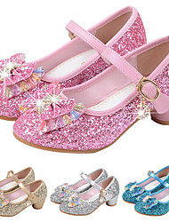 cheap -Girls' Heels Party Mary Jane Basic Pump PU Little Kids(4-7ys) Big Kids(7years +) Dress Crystal Bowknot Blue Pink Gold Spring & Summer