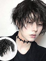 cheap -Male's Wig Short Curly Black Synthetic Wigs With Bangs for Men Women Boy Fake Hair