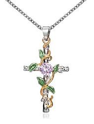 cheap -leaf winding cross pendant necklace women's diamond-encrusted accessory necklace