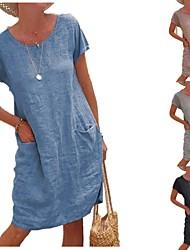 cheap -Women's Shift Dress Knee Length Dress Short Sleeve Solid Color Pocket Summer Round Neck Classic & Timeless Casual 2021 S M L XL 2XL 3XL 4XL 5XL