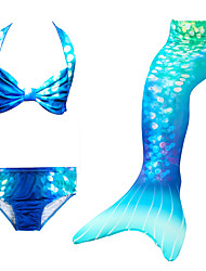 cheap -Kids Girls' Swimwear Bikini 5pcs Swimsuit Mermaid Tail The Little Mermaid Swimwear Color Block Sequin Colorful Blue Party Cosplay Princess Cute Bathing Suits 3-10 Years