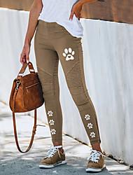 cheap -Women's Streetwear Chino Comfort Pants Slim Going out Work Pants Spot Color Block Ankle-Length Elastic Drawstring Design Print Yellow Gray Khaki Green Black