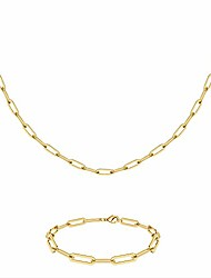 cheap -monozo gold paperclip chain necklace for women, 14k gold filled link paperclip chain necklace paperclip link bracelet sets girls long oval rectangle chain paper clip link necklace for women girls