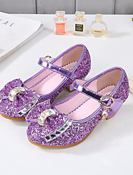 cheap -Girls' Heels Flower Girl Shoes Princess Shoes School Shoes Rubber PU Little Kids(4-7ys) Big Kids(7years +) Daily Party & Evening Walking Shoes Rhinestone Bowknot Sparkling Glitter Black Purple Red