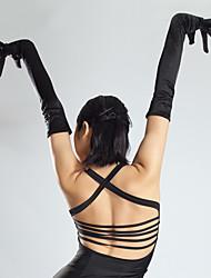 cheap -Stage Wear Latin Dance Gloves Long Sleeves Satin Arm Accessories Waltz/Tango/Ballroom Dancing Performance Ladies Black