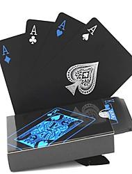 cheap -54pcs new Waterproof PVC Pure Black Magic Box-packed Plastic Playing Cards Set Deck Poker Classic Magic Tricks Tool