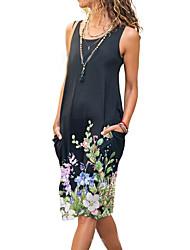 cheap -2021 summer new style cross-border european and american amazon flower print round neck sleeveless pocket mid-length dress