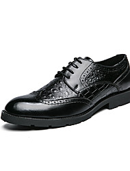 cheap -Men's Oxfords Formal Shoes Dress Shoes Derby Shoes Business Classic Wedding Office & Career PU Non-slipping Wear Proof Black Brown Fall Winter