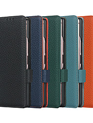 cheap -PU Leather Phone Case For Samsung Galaxy Z Fold 2 Genuine Leather Flip Case For Galaxy Z Fold 2 5G Case Magnetic Card Slots Wallet Cover