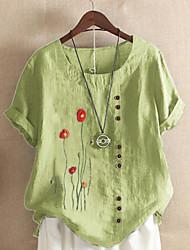 cheap -Women's Plus Size Tops T shirt Floral Graphic Cotton Linen Short Sleeve Round Neck Casual Yellow White Blue Big Size L XL 2XL 3XL 4XL 5XL