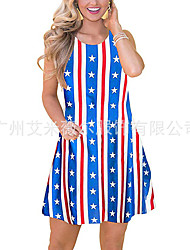 cheap -amazon european and american new cross-border women's clothing american independence day sleeveless flag print loose casual dress