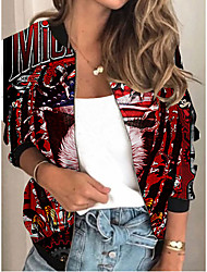 cheap -Women's Jackets Animal Patterned Print Sporty Spring Jacket Regular Daily Long Sleeve Air Layer Fabric Coat Tops Red