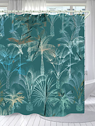 cheap -Cyan Coconut Tree Digital Printing Shower Curtain Shower Curtains Hooks Modern Polyester New Design 72 Inch
