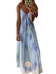 cheap -womens tie-dye dress floral print summer dresses v neck sleeveless maxi boho cocktail party beach dress size 8-22 uk (xxxxl, yellow)