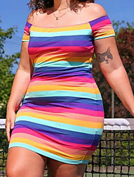 cheap -european and american new amazon independent station hot style street casual sports short-sleeved striped one-shoulder plus size dress