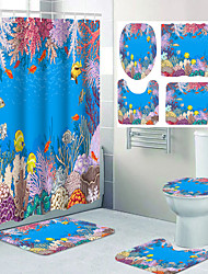 cheap -Ocean Theme Bathroom Waterproof Shower Curtain and Hook Cushion Four-piece Casual Decoration