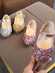 cheap -Girls' Flats Flower Girl Shoes Halloween Christmas PU Little Kids(4-7ys) Sequin Magic Tape Pink Gold Silver Spring &  Fall