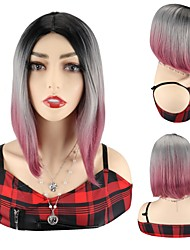 cheap -Ombre Purple Synthetic Hair Wigs Cosplay Party Wigs Ombre Colorful Bob Wigs For Black Women