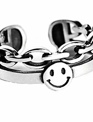 cheap -brishow women's statement rings silver vintage band rings smiling face ring band open stainless steel rings smiley wide face adjustable bands for women and girl