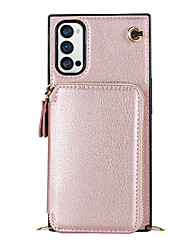 cheap -Phone Case For OPPO Back Cover Leather Reno4 Z 5G Wallet Card Holder Shockproof Solid Color PU Leather