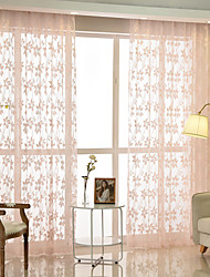 cheap -Two Panel Pastoral Style Peach Jacquard Window Screen Living Room Bedroom Dining Room Study Children's Room Translucent Tulle