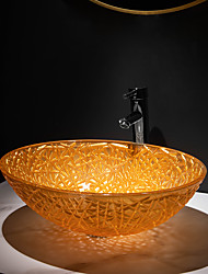 cheap -Orange yellow die-cast glass wash basin with tap holder