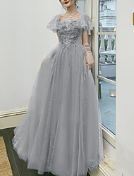 cheap -A-Line Sparkle Floral Engagement Prom Dress Scoop Neck Short Sleeve Floor Length Tulle with Pleats Appliques 2021