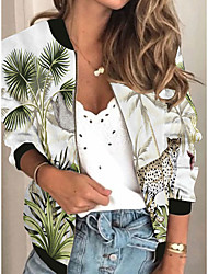 cheap -Women's Jackets Plants Print Sporty Spring &  Fall Jacket Regular Daily Long Sleeve Air Layer Fabric Coat Tops White