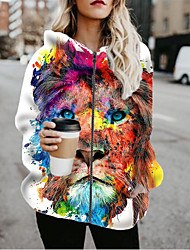 cheap -Women's Jackets Animal Patterned Print Casual Fall Jacket Regular Daily Long Sleeve Air Layer Fabric Coat Tops White