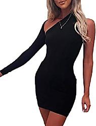 cheap -xxxiticat women's one shoulder formal dresses long sleeve bodycon asymmetric ruched split pleated hollow out mini dress(bbl,xl)