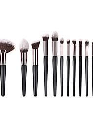 cheap -eyeshadow brush,  fan shape wood handle powder foundation eye shadow makeup brushes set(12pcs)