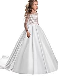 cheap -Kids Little Girls' Dress Solid Colored Flower Beaded Bean Paste Powder White Blue Asymmetrical Long Sleeve Sweet Dresses Regular Fit