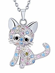 cheap -sxnk7 cat necklace silver tone sparkly rainbow crystal cat necklace cat pendant necklace jewelry for women teen girls kids cat lover gifts (color new2)