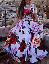 baratos -Mulheres Vestido A Line Vestido maxi longo Vermelho Manga Curta Estampa floral Floral Verão Decote V Casual Vintage Praia 2021 S M L XL