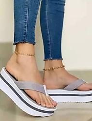 cheap -Women's Slippers & Flip-Flops Platform Open Toe Knit Solid Colored Light Brown Black Pink