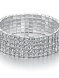 cheap -jewelry 5 strand rhinestone stretch bracelet silver-tone sparkling bridal tennis bangle