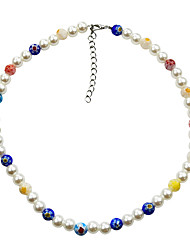 cheap -Women's Choker Necklace Beaded Necklace Printing Daisy Colorful Holiday Trendy Korean Pearl Acrylic Alloy Picture color 39 cm Necklace Jewelry 1pc For Street Gift Birthday Party Beach Festival