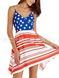 cheap -amazon europe and the united states new cross-border women's united states independence day sling flag printed loose casual dress