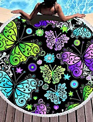 cheap -amazon hot-selling microfiber beach towel butterfly series round bath towel shawl diameter 150cm can be customized