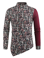 cheap -Men's Shirt Graphic Long Sleeve Daily Tops Black Red