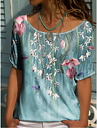 cheap -Women's Floral Theme T shirt Floral V Neck Tops Basic Basic Top Blue