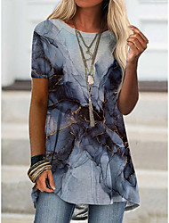 cheap -Women's T shirt Graphic Print Round Neck Tops Basic Basic Top Blue Khaki