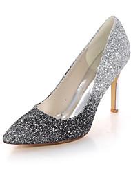 cheap -Women's Wedding Shoes Stiletto Heel Pointed Toe Synthetics Color Block Black Fuchsia Blue
