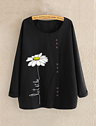 cheap -2020 new cross-border foreign trade women's clothing autumn chrysanthemum print long-sleeved casual breathable cotton and linen women's t-shirt