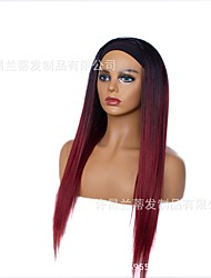 cheap -new style headband wig wig female fashion long straight hair gradient wine red chemical fiber headscarf wig headgear