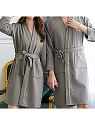 cheap -Superior Quality Bath Robe, Elegant Grey 100% Cotton Water Absorbent Simple Couple Bathrobe