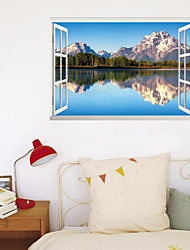 cheap -3D Fake Window New Wall Paste Reflection Of Mountains And Rivers Home Corridor Background Decoration Can Be Removed Stickers